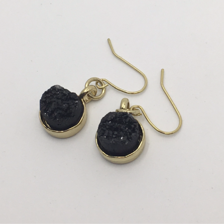 black druzy gold earrings