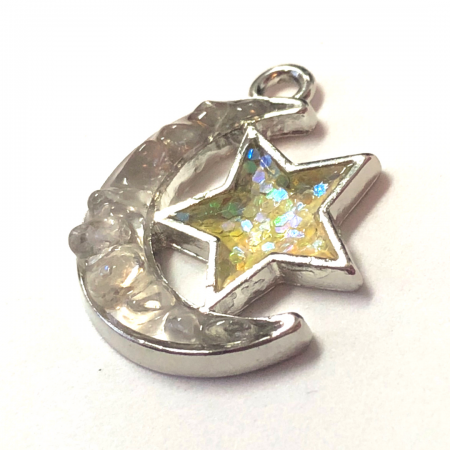Quartz Moon and Star Charm