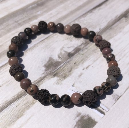 Brown Lava Stone and rhodonite Bracelet