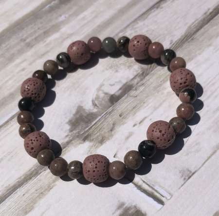 Pink Lava Stone and rhodonite bracelet