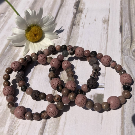 Rhodonite and Lava Stones Bracelets