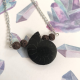 dark ammonite fossil pendant necklace