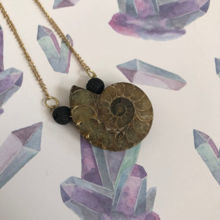 Ammonite Fossil Pendant Necklace with Black Lava Stones