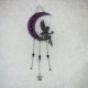 Glittery Black Fairy with Amethyst infused Crescent Moon Wall Decor